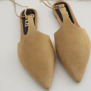 NWT Zara Sandy Brown Tied Leather T-Bar Mules, 9